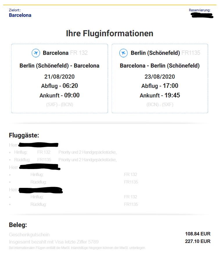 Beispiel Buchungsbestätigung Ryanair Flugpreis