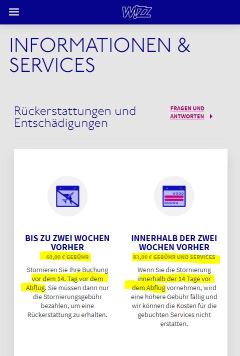 Nachweis Gebühren Wizz Air am 27.06.2021