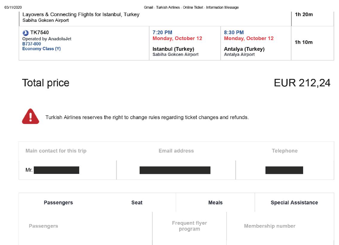 Fehlende Angabe von Steuern und Gebühren auf dem Ticket von Turkish Airlines